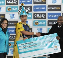 Cape Town, South Africa - JULY 29: Robbin Swartz of UWC received the Man of the Match award during the Varsity Football match between University of Western Cape and the Tshwane University of Technology at the UWC Stadium
