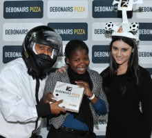 Cape Town, South Africa - JULY 29: Debonairs prize winner for Round 2 during the Varsity Football match between University of Western Cape and the Tshwane University of Technology at the UWC Stadium