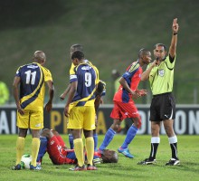 Cape Town, South Africa - JULY 29: Referee during the Varsity Football match between University of Western Cape and the Tshwane University of Technology at the UWC Stadium