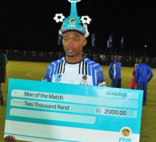29072013 Varsity Cup Soccer Nw plays UFS on Mafekeng Field Man of the Match between UFS and NWU was Thabo Semense.Photo  MARIO VAN DE WALL