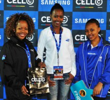 29072013 Varsity Cup Soccer Nw plays UFS on Mafekeng Field. |Hamper winners for the match between UF and NWU were William Semense and Kamogelo Setswe.Photo  MARIO VAN DE WALL