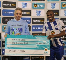 Cape Town, South Africa - August 5:  Lwazi Maziya of UCT was awarded the Man of the Match award during the Varsity Football match between University of Cape Town and WITS University  Luigi Bennett/SASPA