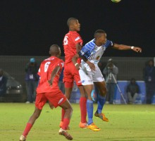 20130902 soccer NWU plays Tuks on their homeground in Mafekeng.Thabo Mnyanmane and lawrance Ntswane dive for ball .photo MARIO VAN DE WALL