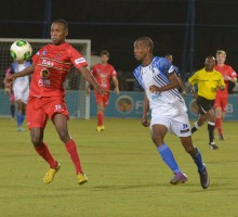 20130902 soccer NWU plays Tuks on their homeground in Mafekeng. Thyabo Ndlovo stops a balll.photo MARIO VAN DE WALL