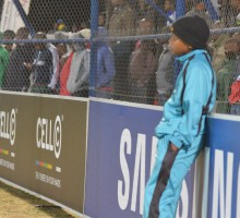 20130902 soccer NWU plays Tuks on their homeground in Mafekeng.The NMafekeng crowd goes bananas behi d the ballboY .photo MARIO VAN DE WALL