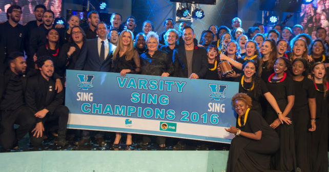 Maties crowned as the 2016 winners. 2016 FNB Varsity Sing, Tuesday 13 October, Linder Auditorium Wits University , Johannesburg Gauteng.Varsity sing finals took place at the Linder auditorium on Thursday evening, the event was attended by guests as well as students.  Photo by: Christiaan KotzeSASPA