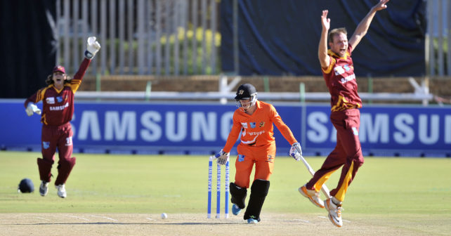 20170201 VARSITY CRICKET in Potchefstroom on Senwes Park where maties plays UJ.Grant Roelofsen looses his wicket.Grant is from UJ.photo Mario van de Wall/SASPA