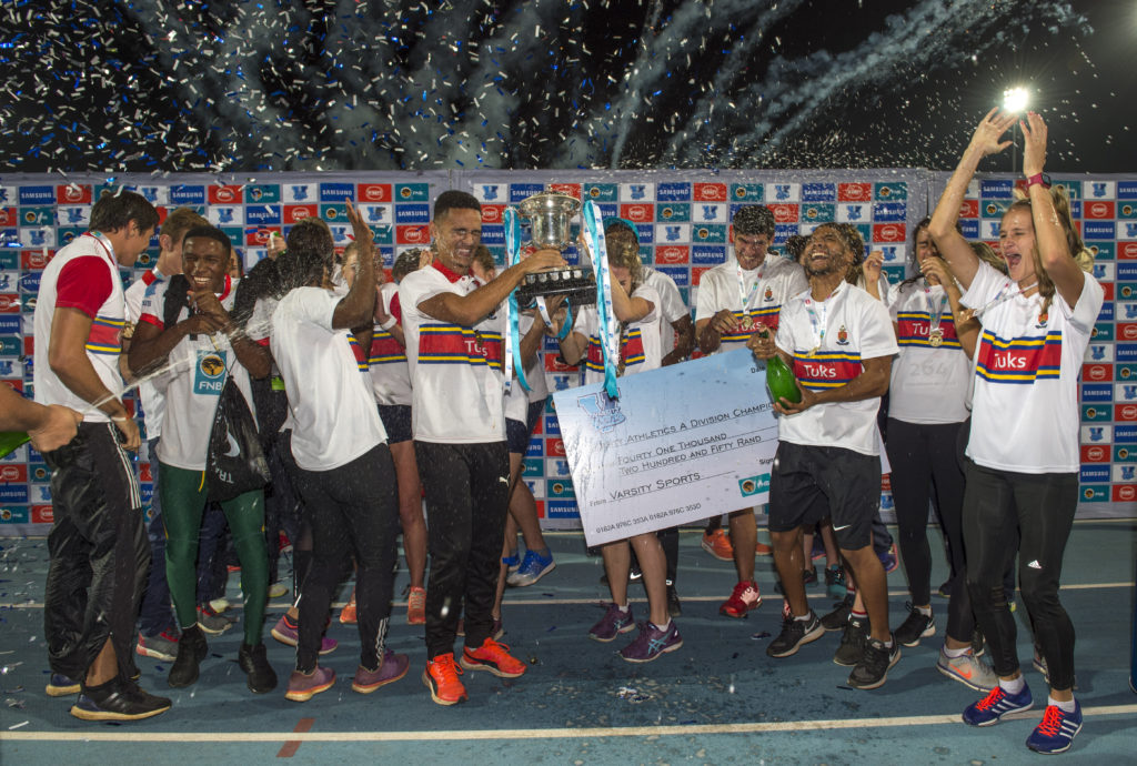Pretoria, South Africa - March 31:  TUKS awarded the A division winners check during the Varsity Athletics Track and Field second meat at Tuks on March 31, 2017 in Pretoria, South Africa. (Photo by © Christiaan Kotze/SASPA)
