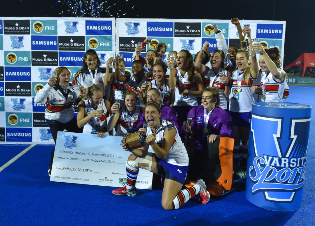 Pretoria, SOUTH AFRICA - MAY 22:  Tuks team celebrate after winning the match 1-0 during the Varsity Hockey Final between Tuks and Maties at Tuks Hockey Astra on May 22, 2017 in Pretoria, South Africa.  (Photo by Christiaan Kotze/SASPA)