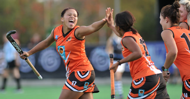 Demi Harmse and Zeena Martin of UJ celebrate after opening the scoring against  UKZN during the 2017 VARSITY HOCKEY,  Sunday 07 May 2017, Danie Craven Stadium, Stellenbosch, Western Cape.   Photo by: LUIGI BENNETTE/SASPA