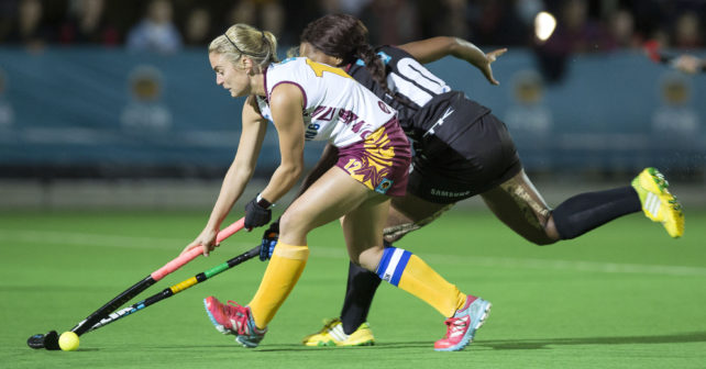 Natasha Rootenberg of Maties and Lerato Mahlangu of PUKKE fight for the ball during the final game in the 2017 VARSITY HOCKEY,  Monday 8  May 2017 Danie Craven Stadium, Stellenbosch, Western Cape.   Photo by: HALDEN KROG/SASPA