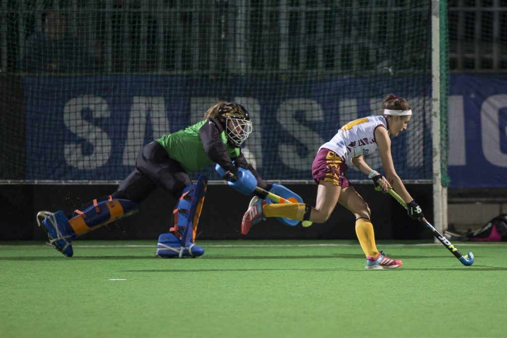 Georgia Grobler of Maties runs around Marine Kock of PUKKE to score during a penalty shoot out after both teas failed to score during the match in the 2017 VARSITY HOCKEY, Monday 8 May 2017 Danie Craven Stadium, Stellenbosch, Western Cape. Photo by: HALDEN KROG/SASPA