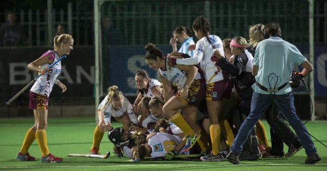 Maties celebrate after winning the final match against PUKKE  in a penalty shoot out in the  2017 VARSITY HOCKEY,  Monday 8  May 2017 Danie Craven Stadium, Stellenbosch, Western Cape.    Photo by: HALDEN KROG/SASPA