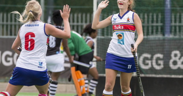 Catherine Morris of TUKKIES celebrates her goal with teammate Chane Hill of TUKKIES during the 2017 Varsity Hockey, presented by Steinhoff and FNB, Monday 06 May 2017, at the Danie Craven Stadium, Stellenbosch, Western Cape.    Photo by: Halden Krog/SASPA