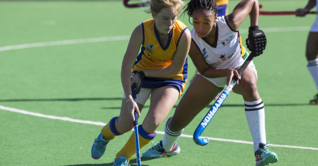 Sissy Pieterse of Wits runs with the ball while Nolwazi Mkize of UKZN chases during the 2017 VARSITY HOCKEY,  Monday 8  May 2017 Danie Craven Stadium, Stellenbosch, Western Cape.   Photo by: HALDEN KROG/SASPA