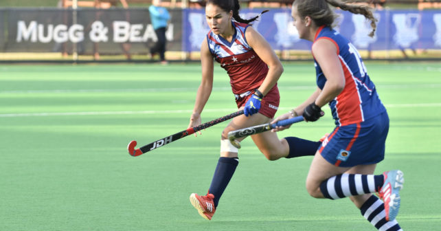 20170513 Varsity Hockey in Potchefstrtoom on the Puk Astro field where Madibaz play Kovsies.Elizabeth Charles from Kovsies and Malikah Pogieter from NMMU,chase after a ball.photo Mario van de Wall/SASPA