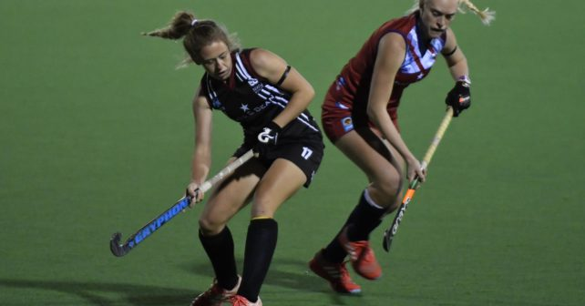 20170514 Varsity Hockey in Potchefstroom on the Astro,Pukke.Eight University Teams take part.Lori Hyde from Pukke,plays a ball,but Antonet Louw Mare,gets thye bhold of it. photo Mario van de Wall/SASPA
