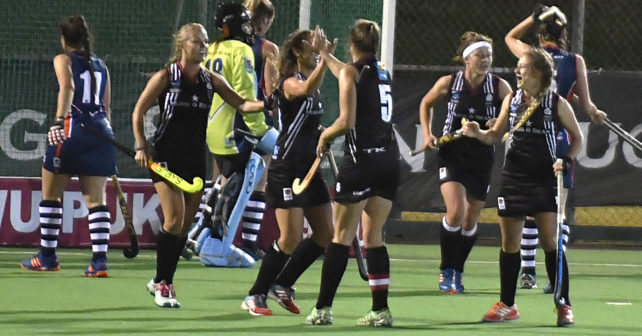 20170517 Varsity Hockey in Potchefstroom where NWU Pukke,plays NMMUMeghan Klomp from Pukke,is congratulated by the Puk players,with her goal she scored.photo Mario van de Wall/SASPA