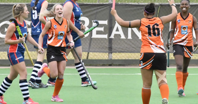 20170514 Varsity Hockey in Potchefstroom on the Astro,Pukke.Eight University Teams take part.UJ is playing NMMU.Isabella Sa Rocha,from UJ,runs with joy after they scored a goal photo Mario van de Wall/SASPA