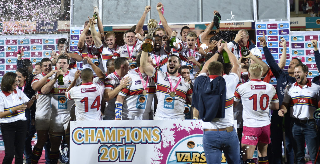 Tuks team celebrate as they win the 2017 Varsity Cup. 2017 Varsity CUP FINAL , presented by Steinhoff, FNB and STEERS. Monday, 17 APRIL 2017 FNB UP-TUKS vs FNB MATIES at Tuks Rugby Field, Pretoria, Gauteng. Photo by: CHRISTIAAN KOTZE/SASPA