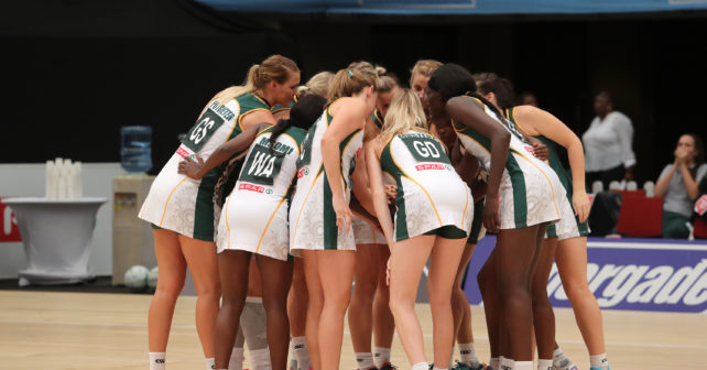 DURBAN, SOUTH AFRICA - JANUARY 31: The Spar Proteas huddle during the Netball Quad Series match between South African Proteas and Australian Diamonds at Durban ICC on January 31, 2017 in Durban, South Africa. (Photo by Reg Caldecott/Gallo Images)