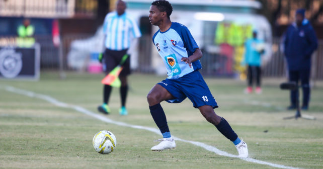 tsietsi ramosedi of CUT during the Varsity Football match between CUT and TUT at CUT Soccer Stadium, Thursday 17 August 2017, Bloemfontein, 2017
