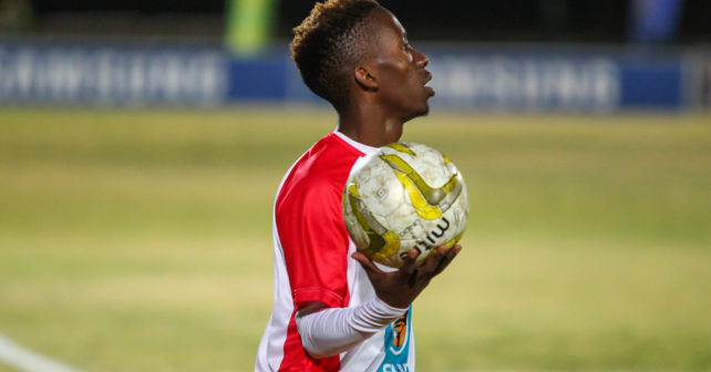 reneilwe sebudi of CUT during the Varsity Football match between CUT and UWC at CUT Soccer Stadium, Thursday 3 August 2017, Bloemfontein, 2017
