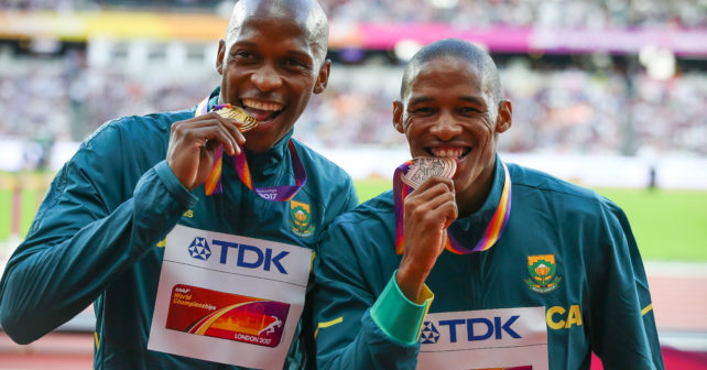 LONDON, ENGLAND - AUGUST 06: Luvo Manyonga and Ruswahl Samaai of South Africa during the medal ceremony for the mens long jump during day 3 of the 16th IAAF World Athletics Championships 2017 at The Stadium, Queen Elizabeth Olympic Park on August 06, 2017 in London, England. (Photo by Roger Sedres/ImageSA/Gallo Images)