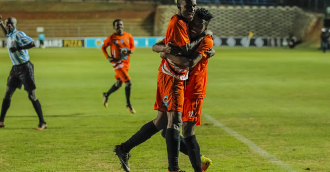 Kenneth Langa and team-mate Shaune Mogaila of UJ celebrate a goal during the Varsity Football match between UJ and Wits at Wits Stadium in Johannesburg on 17 August, 2017. Photo by Dominic Barnardt/Varsity Sports