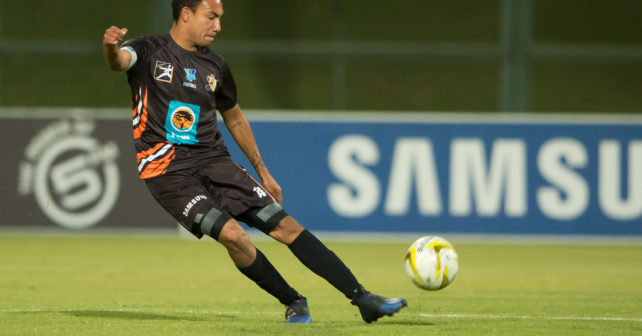 Dane Romario Fortuin of UJ in action during the Varsity Football match between Tuks and UJ at the LC de Villiers Stadium in Pretoria on 3 August 2017.
