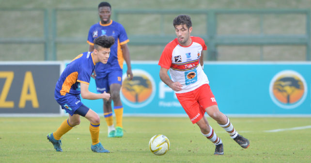 Claudio de Almeida of Tuks in action during the Varsity Football match between Tuks and Wits at the LC de Villiers Stadium in Pretoria on 24 August 2017.