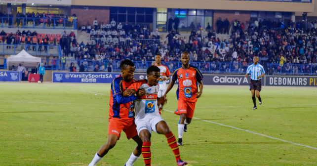 TUT against TUKS, during Varsity Football match between TUT and TUKS at TUT Sports Stadium in Pretoria on 27 July, 2017, action shot,