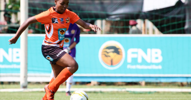 UJ Running good with the ball during the Varsity Football match between NWU and UJ at Fanie du Toit Sports Grounds in Potchefstroom on 22 September 2017