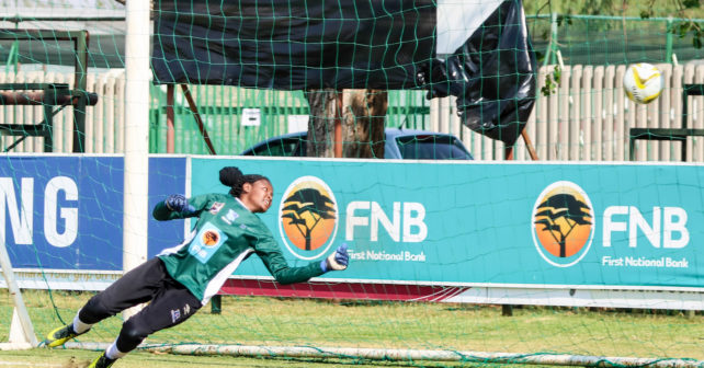 Regirl Ngobeni from UWC missing the ball and TUT get 1-0 on the score board  during the Varsity Football match between UWC and TUT at Fanie du Toit Sports Grounds in Potchefstroom on 23 September 2017