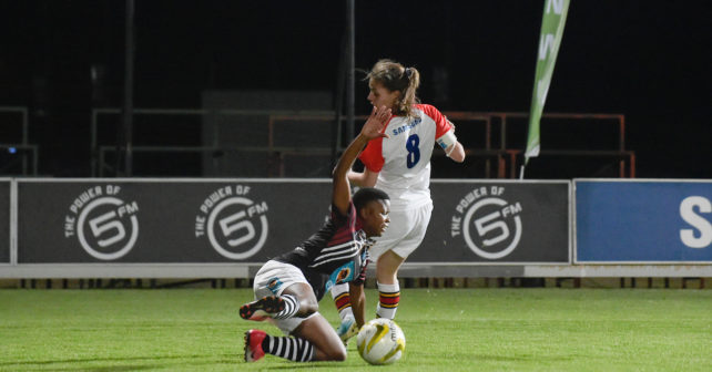 Amanda Citywayo on the ground during the Varsity Football match between NWU and Tuks at Fanie du Toit Sports Grounds in Potchefstroom on 22 September 2017