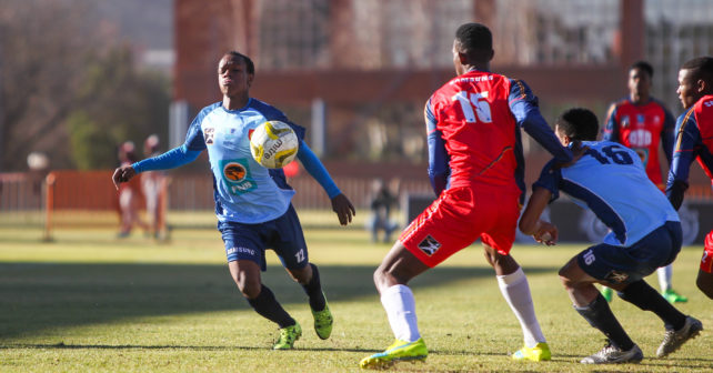Mpho Molwatse 12 of CUT during the Varsity Football match between CUT and TUT at CUT Soccer Stadium, Thursday 17 August 2017, Bloemfontein, 2017