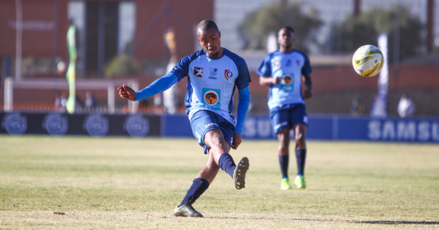 Godfrey Monokoane of CUT during the Varsity Football match between CUT and TUT at CUT Soccer Stadium, Thursday 17 August 2017, Bloemfontein, 2017