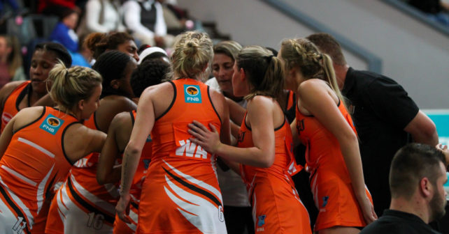 UJ team take a huddle during the match between Kovsies and UJ during the Varsity Sport Netball tournament at the Callie Human Hall UFS, Sunday 27 August Bloemfontein