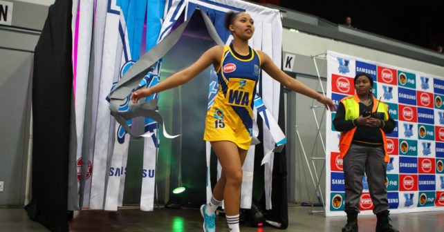 Casandra Fisher of UWC during the match between Kovsies and UWC during the Varsity Sport Netball tournament at the Callie Human Hall UFS, Monday 4 September, Bloemfontein