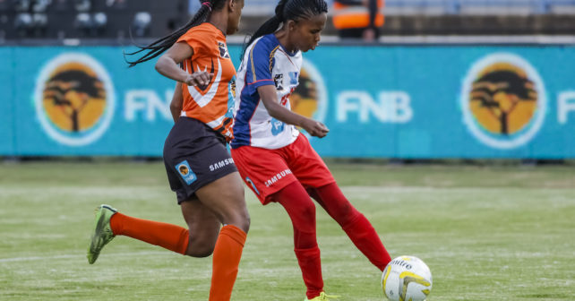 and Kgomotso Mashiloane of TUT about to score during the Final of the Ladies Varsity Football match between TUT and UJ at TUT Stadium in Pretoria on 28th September, 2017. Photo by Dominic Barnardt/Varsity Sports