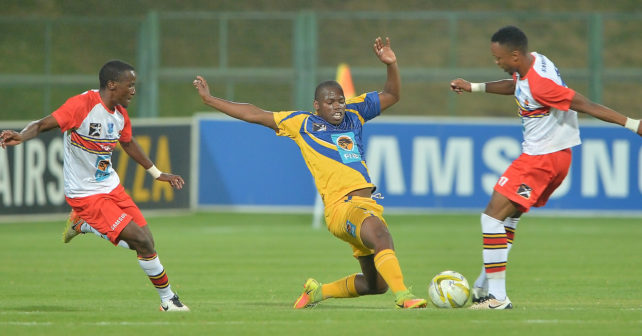 Xolela Ndude of UWC in action in the Varsity Football fixture between Tuks and UWC, played at LC de Villiers Stadium in Pretoria on 11 September 2017