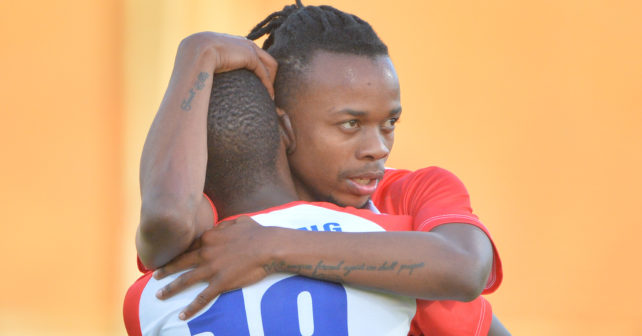 Frank Mpedi of Tuks (number 19) is congratulated with his goal during the Varsity Football match between Tuks and Wits at the LC de Villiers Stadium in Pretoria on 24 August 2017.