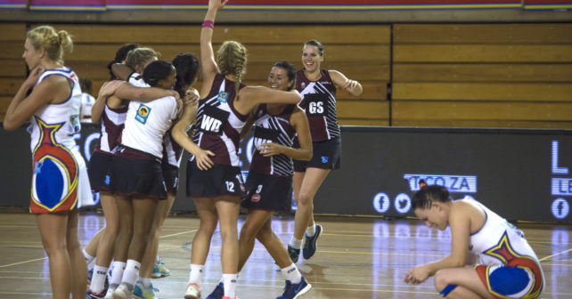 Pukke celebrating after winning the match. 2016 Varsity Netball Final. Monday 17 Octoberr 2016. Tuks Rembrandt Hall, Pretoria, Gauteng TUKS vs Pukke  Photo by: Christiaan Kotze/SASPA
