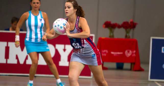 Marna Claassens of Kovsies during the match between Kovsies and UWC during the Varsity Sport Netball tournament at the Callie Human Hall UFS, Monday 4 September, Bloemfontein