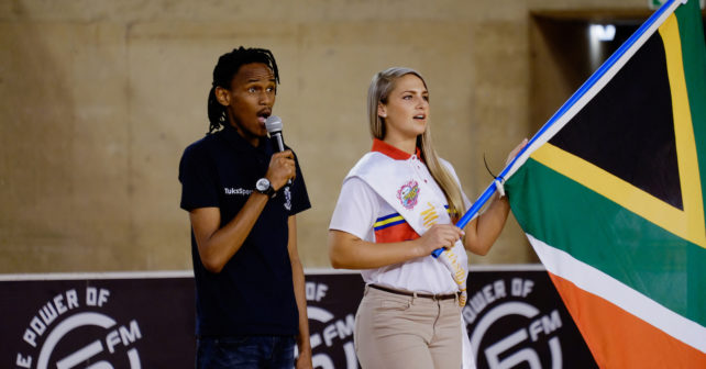 Standing for national anthem at start of match between TUKS and MATIES at the University of Pretoria Sports Campus in Pretoria on Sunday September 10, 2017