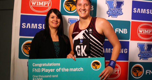 Zandre Erasmus Player of the match of Pukke during the semi final of the Varsity Sport Netball tournament at the Callie Human Hall UFS, Monday 2 October 2017 Bloemfontein