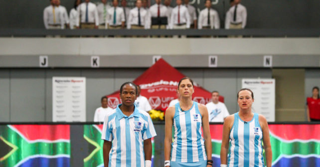 Anthem during the semi final of the Varsity Sport Netball tournament at the Callie Human Hall UFS, Monday 2 October 2017 Bloemfontein