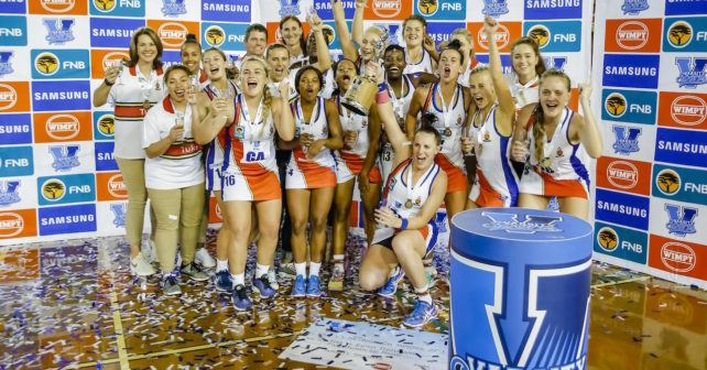 TUKS Celebrate their victory during the Varsity Netball final match between PUKS and TUKS in the Rembrandt Hall at  TUKS in Pretoria on 9th October, 2017. Photo by Dominic Barnardt/Varsity Sports