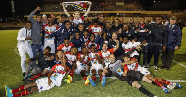 TUKS celebrate winning the Final of the Varsity Football match between TUT and TUKS at TUT Stadium in Pretoria on 28th September, 2017. Photo by Dominic Barnardt/Varsity Sports