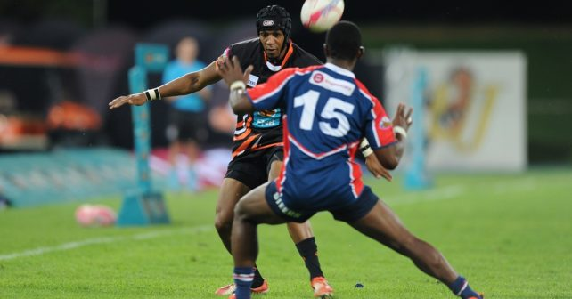 2017 Varsity Cup, presented by Steinhoff, FNB and STEERS. Monday,  06 March 2017: Carlisle Jordaan of UJ is tackled by Siyanda Zungu of Madibaz during their clash on monday evening FNB UJ vs FNB MADIBAZ at UJ stadium Johannesburg.   Photo by: SASPA